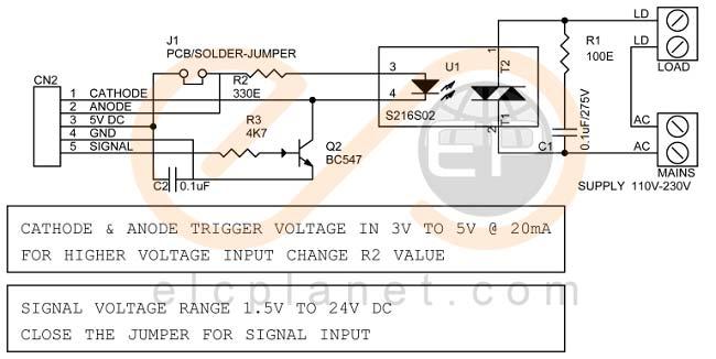 مدار رله حالت جامد یا SSR جریان متناوب (AC)