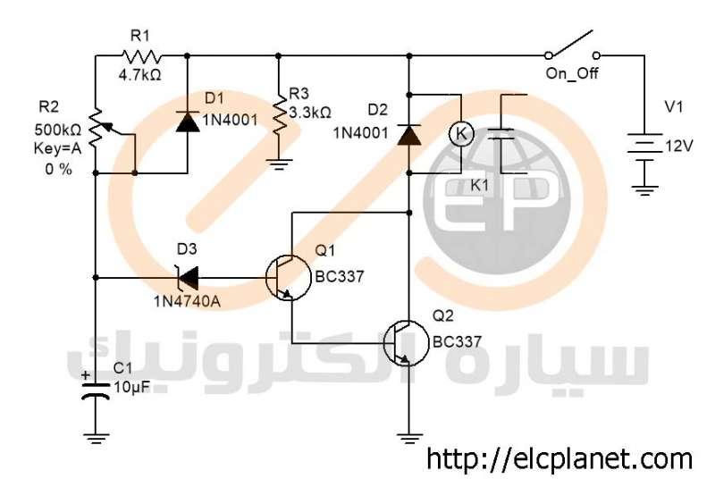 مدار تایمر تأخیر در وصل با ترانزیستور