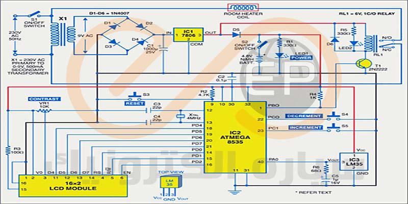 پروژه کنترل حرارت به همراه نمایشگر دما با استفاده از میکرو کنترلر