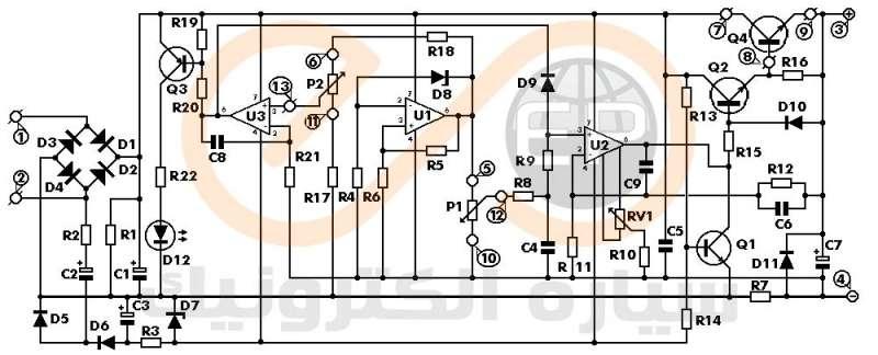 شماتیک مدار منبع تغذیه 0 تا 30 ولت با کنترل جریان 0 تا 3 آمپر