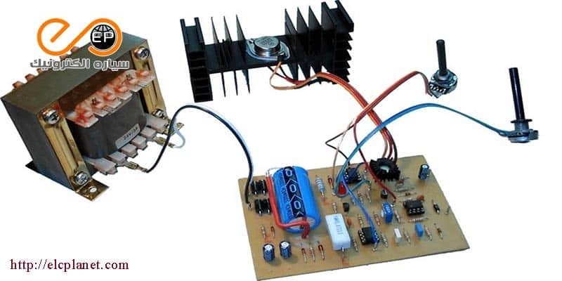 مدار منبع تغذیه 0 تا 30 ولت با کنترل جریان 0 تا 3 آمپر