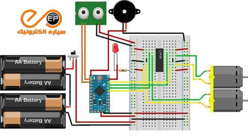 مدار ربات تشخیص مانع با آردوینو