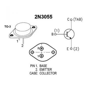 راهنمای پایه های ترانزیستور 2N3055