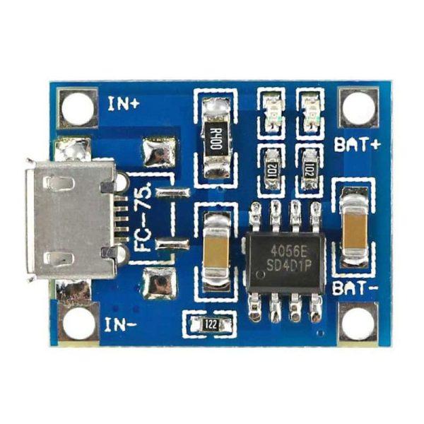 ماژول شارژر باتری لیتیومی Tp4056 - نمای روبرو