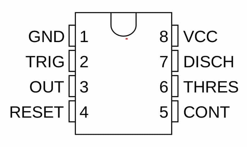 معرفی پایههای آی سی 555